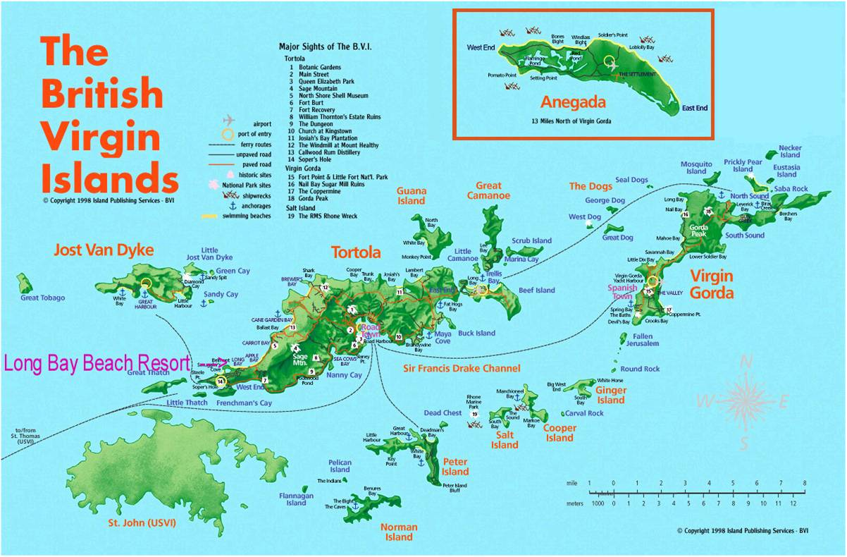 Map of Jost Van Dyke with direction to Cool Breeze Sports Bar located in Great Harbour, just minutes from White Bay.